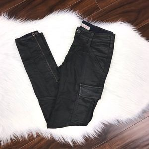 J Brand Houlihan Cargo Mid Rise Black Coated Pants